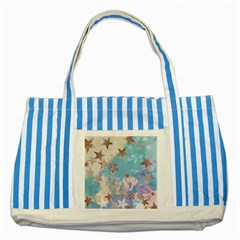 Pastel Colored Stars  Striped Blue Tote Bag by Brittlevirginclothing