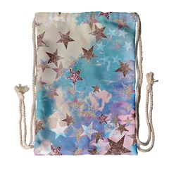 Pastel Colored Stars  Drawstring Bag (large) by Brittlevirginclothing