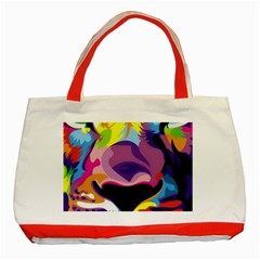 Colorful Lion s Face  Classic Tote Bag (red) by Brittlevirginclothing