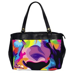 Colorful Lion s Face  Office Handbags (2 Sides)  by Brittlevirginclothing