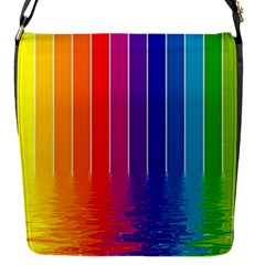 Fading Rainbow Flap Messenger Bag (s) by Brittlevirginclothing