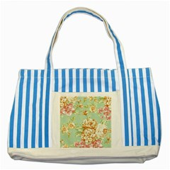 Vintage Pastel Flowers Striped Blue Tote Bag by Brittlevirginclothing