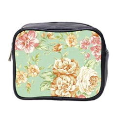 Vintage Pastel Flowers Mini Toiletries Bag 2 Side by Brittlevirginclothing