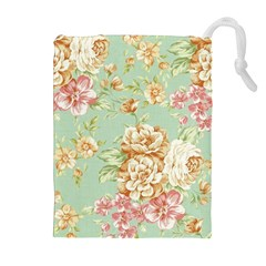 Vintage Pastel Flowers Drawstring Pouches (extra Large) by Brittlevirginclothing
