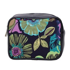 Lila Toned Flowers Mini Toiletries Bag 2 Side by Brittlevirginclothing
