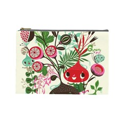 Cute Flower Cartoon  Characters  Cosmetic Bag (large)  by Brittlevirginclothing