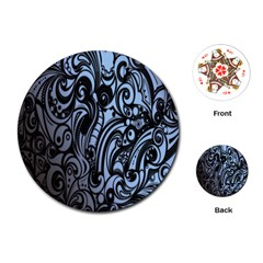 Gray Batik Blue Playing Cards (round)  by Jojostore