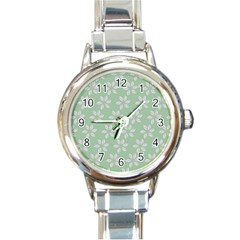 Pink Flowers On Light Green Round Italian Charm Watch by Jojostore