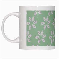 Pink Flowers On Light Green White Mugs by Jojostore