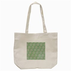Pink Flowers On Light Green Tote Bag (cream)