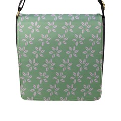 Pink Flowers On Light Green Flap Messenger Bag (l)  by Jojostore