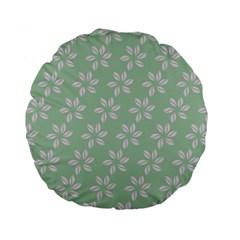 Pink Flowers On Light Green Standard 15  Premium Flano Round Cushions by Jojostore