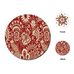 Red Flower White Wallpaper Organic Playing Cards (round)  by Jojostore