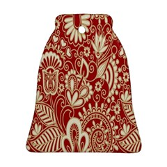 Red Flower White Wallpaper Organic Bell Ornament (two Sides) by Jojostore