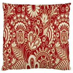 Red Flower White Wallpaper Organic Standard Flano Cushion Case (one Side) by Jojostore