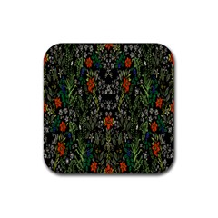 Detail Of The Collection s Floral Pattern Rubber Coaster (square)  by Jojostore