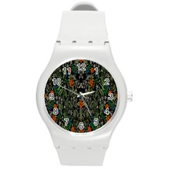 Detail Of The Collection s Floral Pattern Round Plastic Sport Watch (m) by Jojostore
