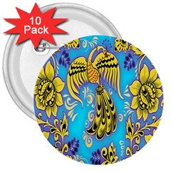 Khokhloma Birds Flowers 3  Buttons (10 Pack)  by Jojostore