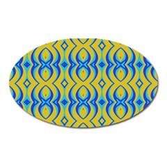 Blue Yellow Oval Magnet by Jojostore