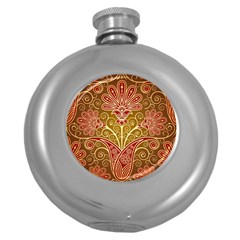 European Fine Batik Flower Brown Round Hip Flask (5 Oz) by Jojostore