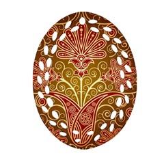 European Fine Batik Flower Brown Ornament (oval Filigree) by Jojostore