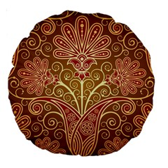 European Fine Batik Flower Brown Large 18  Premium Round Cushions by Jojostore