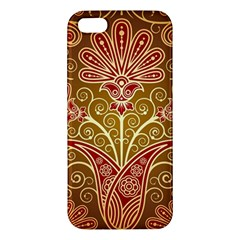 European Fine Batik Flower Brown Apple Iphone 5 Premium Hardshell Case by Jojostore