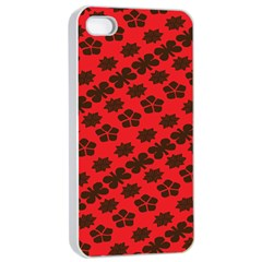 Diogonal Flower Red Apple Iphone 4/4s Seamless Case (white) by Jojostore