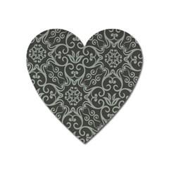 Flower Batik Gray Heart Magnet by Jojostore