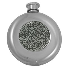 Flower Batik Gray Round Hip Flask (5 Oz) by Jojostore
