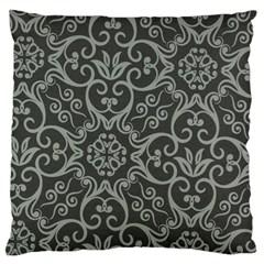 Flower Batik Gray Large Cushion Case (one Side) by Jojostore