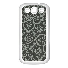 Flower Batik Gray Samsung Galaxy S3 Back Case (white) by Jojostore