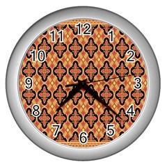 Flower Batik Wall Clocks (silver)  by Jojostore