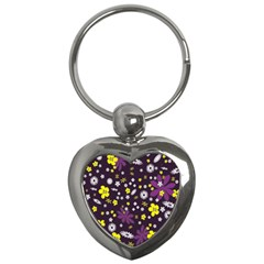 Floral Purple Flower Yellow Key Chains (heart)  by Jojostore