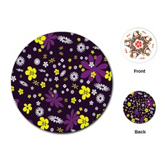 Floral Purple Flower Yellow Playing Cards (round)  by Jojostore