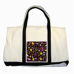 Floral Purple Flower Yellow Two Tone Tote Bag by Jojostore