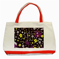 Floral Purple Flower Yellow Classic Tote Bag (red) by Jojostore