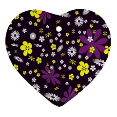 Floral Purple Flower Yellow Heart Ornament (two Sides) by Jojostore