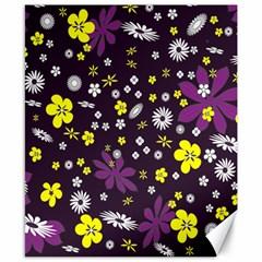 Floral Purple Flower Yellow Canvas 8  X 10  by Jojostore