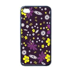 Floral Purple Flower Yellow Apple Iphone 4 Case (black) by Jojostore