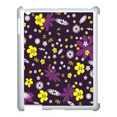Floral Purple Flower Yellow Apple Ipad 3/4 Case (white) by Jojostore