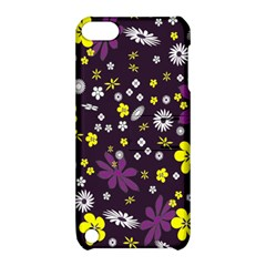 Floral Purple Flower Yellow Apple Ipod Touch 5 Hardshell Case With Stand by Jojostore