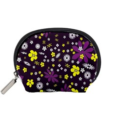 Floral Purple Flower Yellow Accessory Pouches (small)  by Jojostore