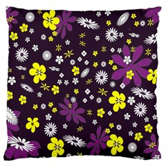 Floral Purple Flower Yellow Large Flano Cushion Case (one Side) by Jojostore