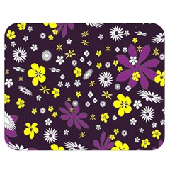 Floral Purple Flower Yellow Double Sided Flano Blanket (medium)  by Jojostore