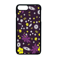 Floral Purple Flower Yellow Apple iPhone 7 Plus Seamless Case (Black) by Jojostore