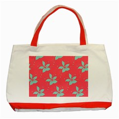 Flower Green Red Classic Tote Bag (red) by Jojostore