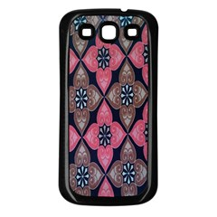 Flower Pink Gray Samsung Galaxy S3 Back Case (black) by Jojostore