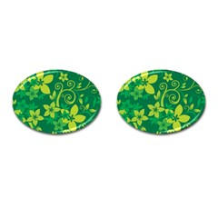 Flower Yellow Green Cufflinks (oval) by Jojostore