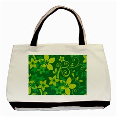 Flower Yellow Green Basic Tote Bag (two Sides) by Jojostore